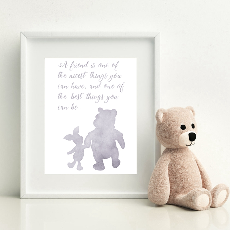 Winnie the Pooh Watercolor Art Painting Picture Classic Cartoon Canvas Poster Girls Nursery Wall Art Friendship Quote Print Kids Room Decor image