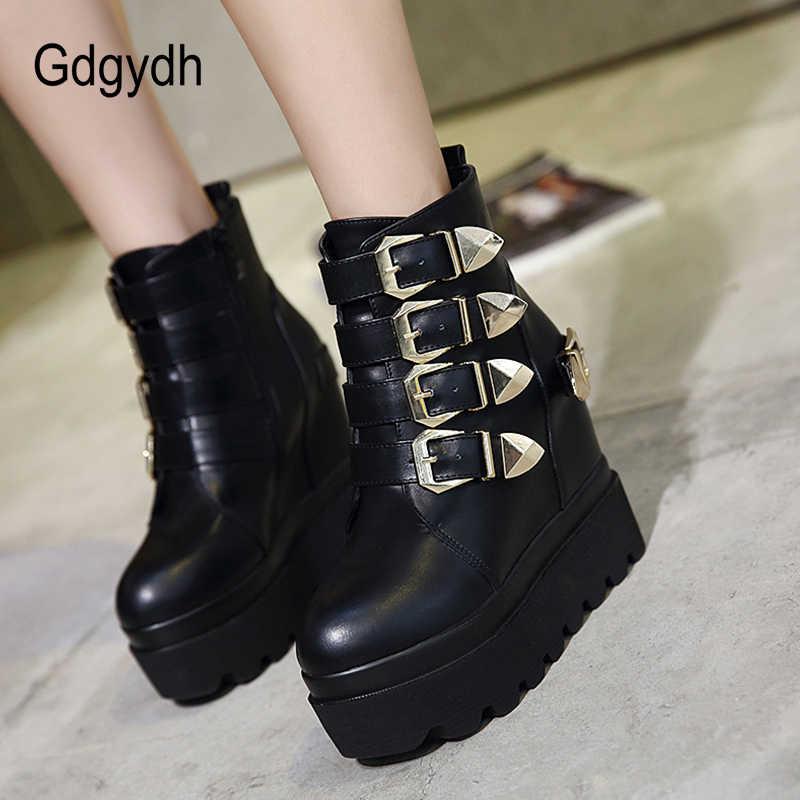 Gdgydh 2020 Herfst Vrouwen Enkellaars Ronde Neus Goud Metalen Gespen Korte Laarzen Toenemende Hoge Hakken Platform Vrouwelijke Laarzen Schoenen