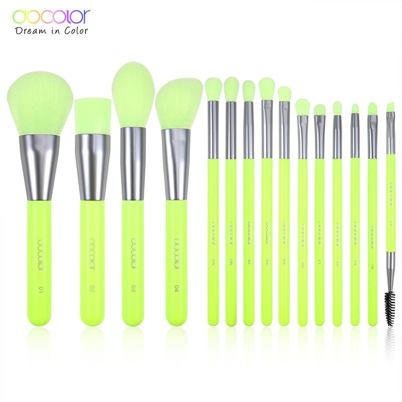 Docolor 15pcs Neon Makeup Brushes Tool Set Cosmetic Powder Foundation Eye Shadow Blush Blending Beauty Make Up Brush Maquiagem