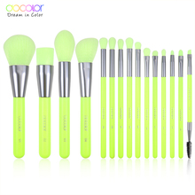 Docolor 15pcs Neon Makeup Brushes Tool Set Cosmetic Powder Foundation Eye Shadow Blush Blending Beauty Make Up Brush Maquiagem