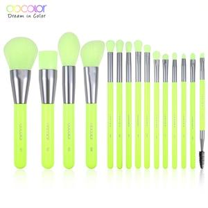 Image 1 - Docolor 15pcs Neon Makeup Brushes Tool Set Cosmetic Powder Foundation Eye Shadow Blush Blending Beauty Make Up Brush Maquiagem