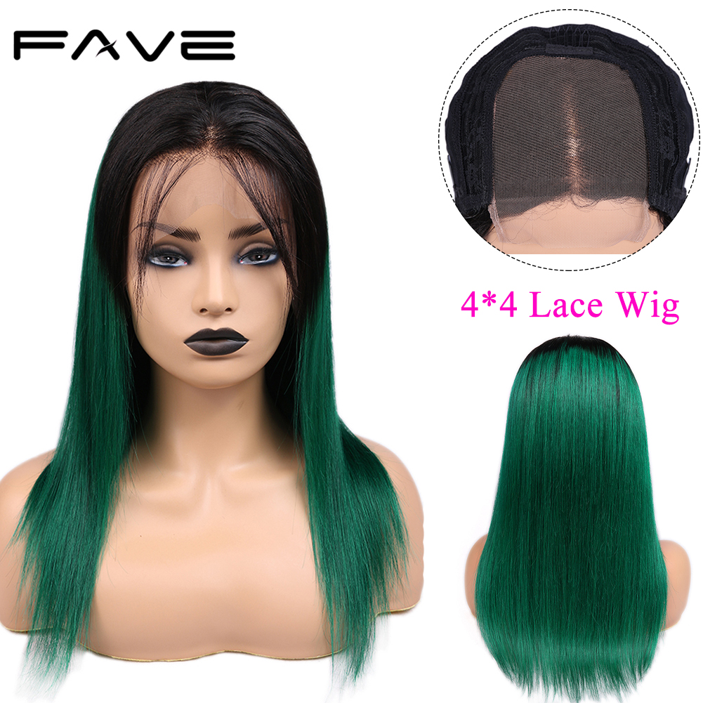 4*4 Lace Closure Ombre Wigs Healthy End Brazilian Remy Straight Human Hair Wigs Natural Hairline 1B/Green For Women FAVE Hair