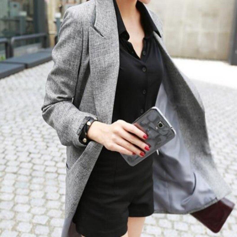 2020 New Fashion Womens Ladies Gray OL Blazer Suit Long Sleeve Lapel Jacket Spring Outwear Long Blazers Plus Size