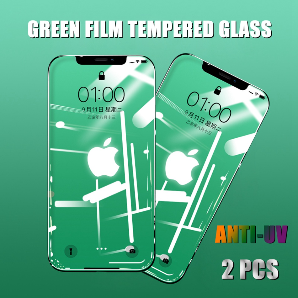 Tempered Glass For IPhone 7 Plus 11 Pro Xs Max Anti-UV Green Film Screen Protector For IPhone X XR 6 8 Plus Protective Film