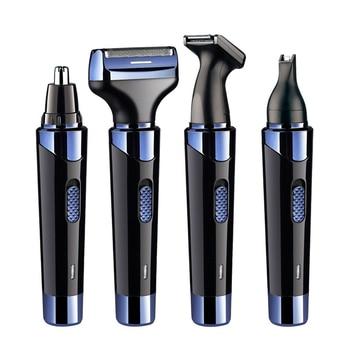 цена на 4-In-1 Men Beard Shaver Razor Electric Trimmer Kit Hair Sideburns Removal Shaving Nose Hair Trimmer Mini Trowel USB Rechargeable