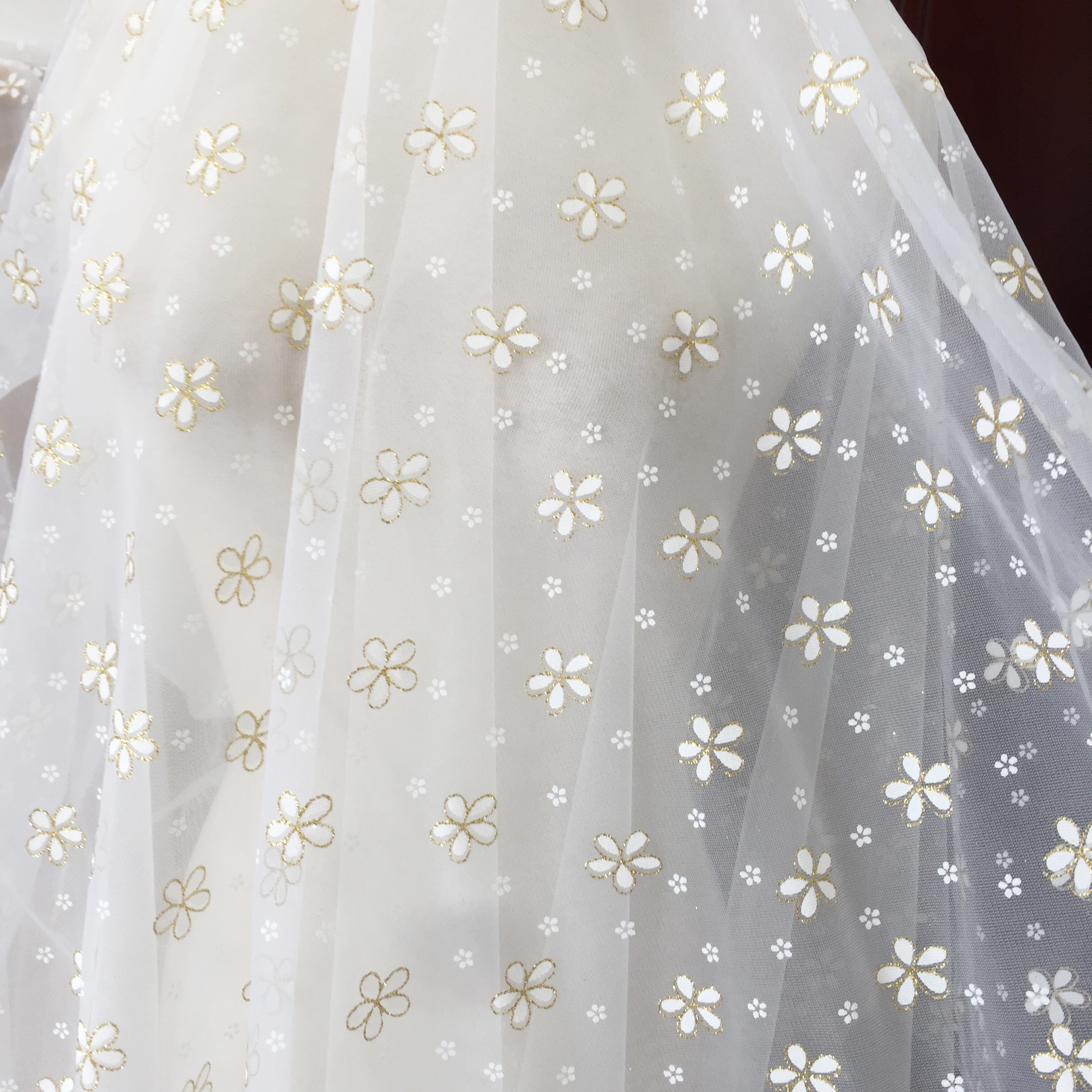 5 Yards Daisy Tulle Lace Fabric with Gold Glitter Embroidery for Bridal Gown Prom Dress DIY Craft 150cm Wide-5