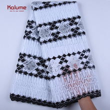 African Laces Embroidered Nigerian Laces Fabric High Quality White+Black French Mesh Lace Fabric 5 Yards For Dress 1600