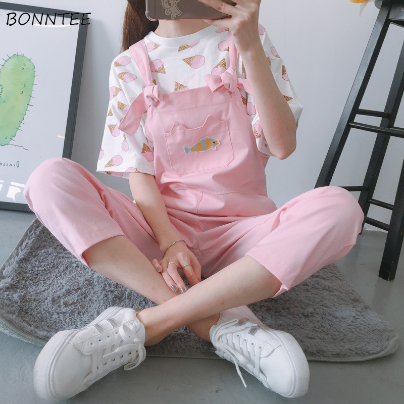 Jumpsuits Women Fruit Embroidery Harajuku Candy Color Straight Womens Jumpsuit Cartoon Korean Style Kawaii Casual Spring Student