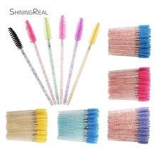 50Pcs Disposable Crystal Eyelash Brush Mascara Wands Applicator Grafting Eyelash Curling Comb Beauty