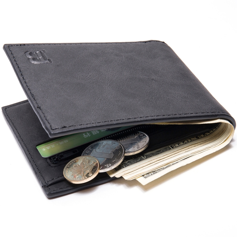 Fashion Mini Slim Wallet Mens Money Purse Coin Bag Zipper Short Men Wallet Card Holder Compact Money Purses T047