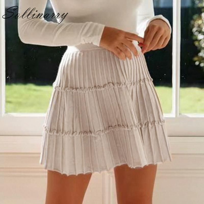 Image 4 - Sollinarry 2019 Knitwear Short Skirts Women Autumn Retro Solid Casual Ruffles Mini Skirts Female High Waist Winter Sexy Skirts-in Skirts from Women's Clothing
