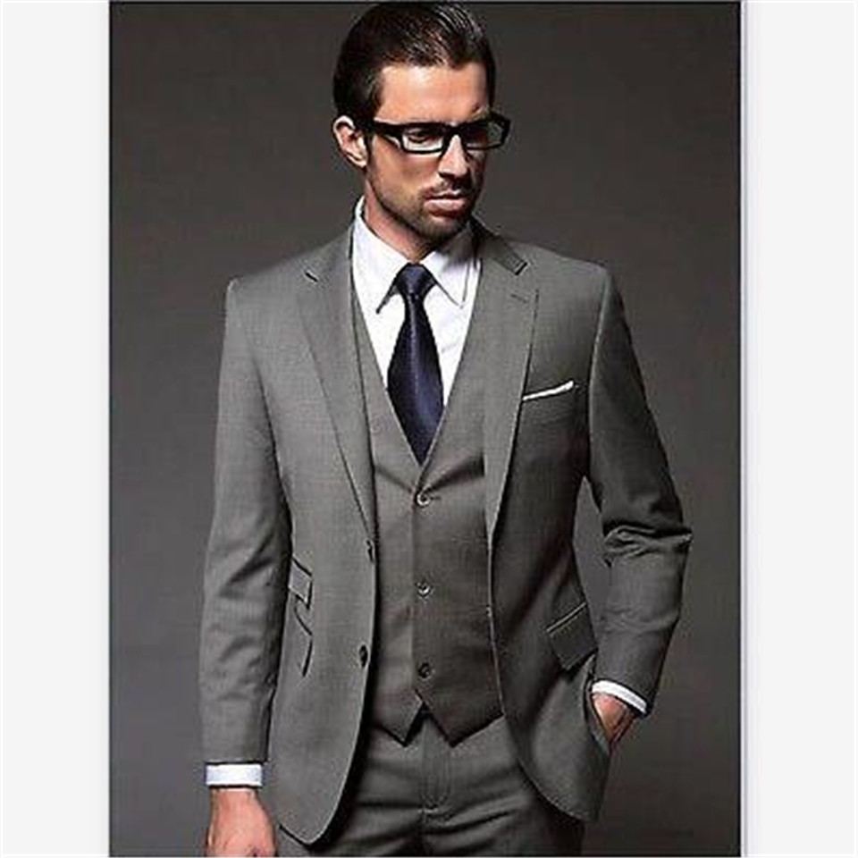 New Men's Suit Smolking Noivo Terno Slim Fit Easculino Evening Suits For Men Gray Groom Tuxedos Bridegroom Groomsman (Jacket+Pan