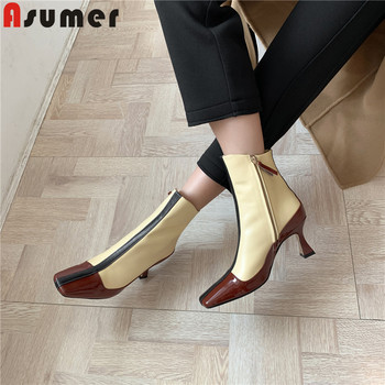 ASUMER big size 34-43 fashion genuine leather boots square toe autumn winter boots mixed colors high heels women prom shoes