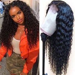 Сапфировые волосы, парики из натуральных волос на кружеве, бразильские кудрявые человеческие волосы, парик для черных женщин, 150% плотность, ...