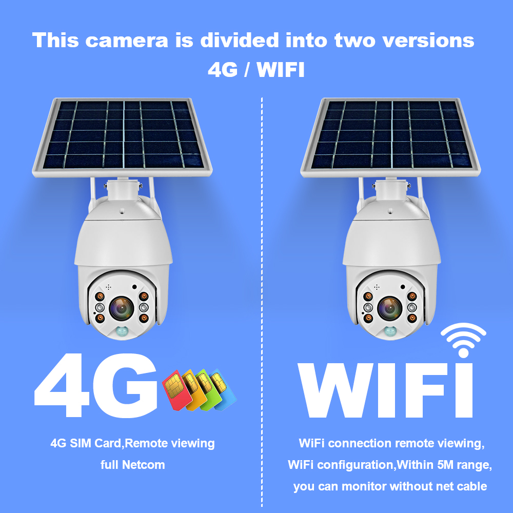 4G SIM Card Solar IP Camera 1080P HD Outdoor Wi-fi Security Surveillance Waterproof Outdoor Camera IR Night Vision
