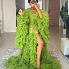 Зеленый Иллюзия оборками с длинными рукавами фатиновой юбкой