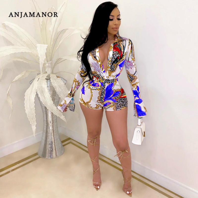 ANJAMANOR Fashion Print Long Sleeve Deep V Romper Bodycon One Piece Jumpsuit Women Summer 2020 Sexy Club Outfits D29-AF18