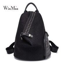 New Rivet Backpack Women 2019 Fashion Split Leather Dual-use Female Function Small Travel Black Back Bag Bolsa