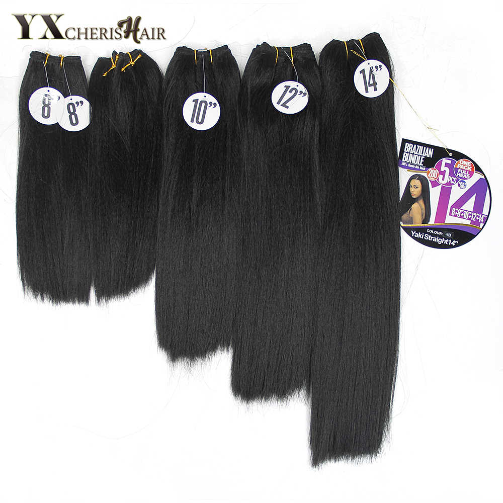 YXCHERISHAIR 8-14 inch Natural Black Synthetic Yaki Straight Hair Weave Afro Double Weft 5pcs/Pack Heat Resistant Hair
