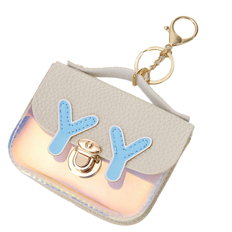 LKEEP Girls Casual Small Laser Printing Clutch Women Kids Coin Purse PVC Square Keychain Wallet