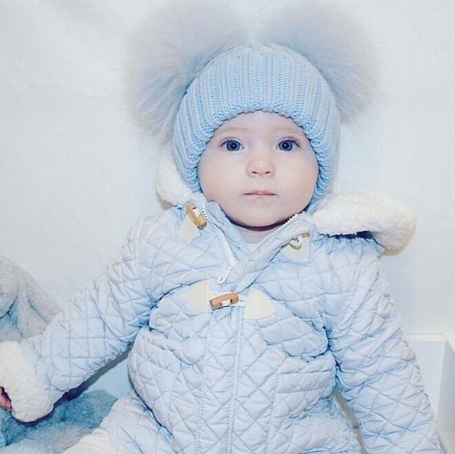 Hat Kids Warm Raccoon Fur Pom Poms  Ins Hot Baby Winter  Real Mink Fur Ball Beanie Knit  Skullies Beanies Wool Cap