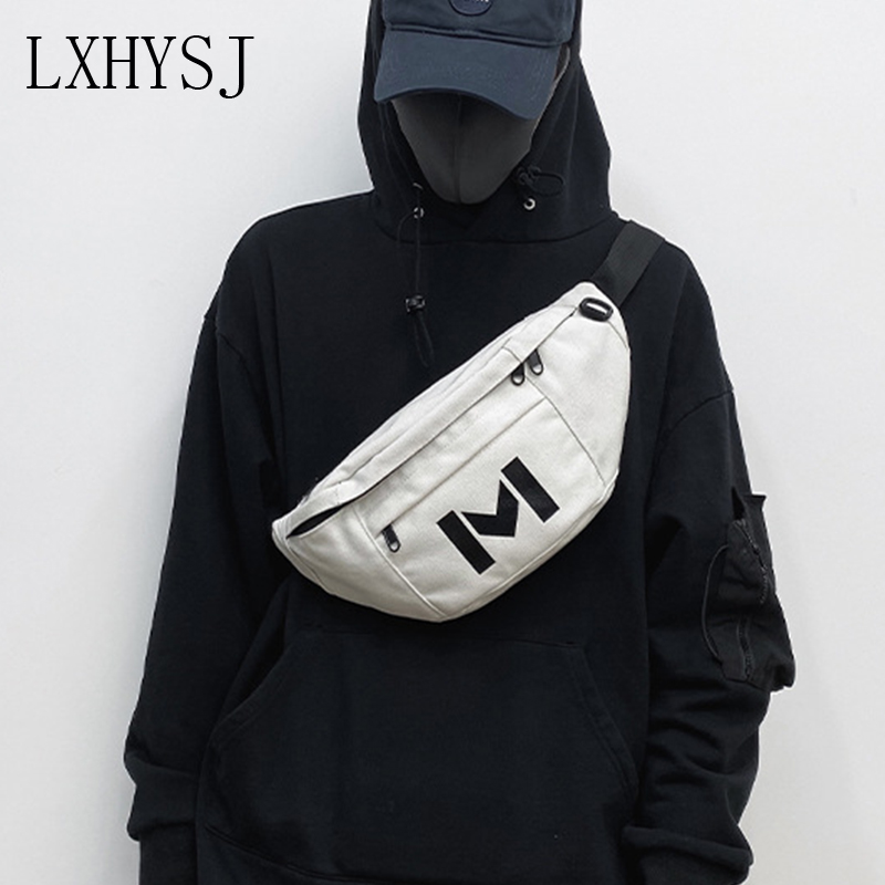 Unisex Leisure Waist Bag Streetwear Chest Bag Trend Canvas Hip Hop Fanny Pack Crossbody Bags Large Capacity Women Banana Pack