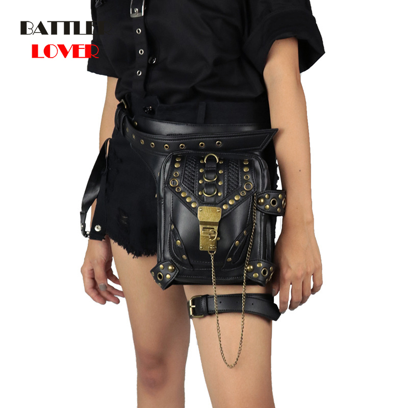 Vintage Steampunk Bag Retro Rock Gothic Retro Crossbody Bag Goth Shoulder Waist Bags Packs Victorian Style Women Mens Leg Bag
