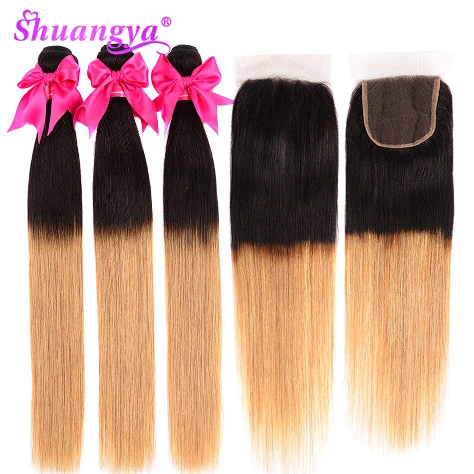 Malaysian Straight Hair Bundles With Closure Remy Ombre Bundles With Closure 1B/27 Two Tone Human Hair Bundles With Closure