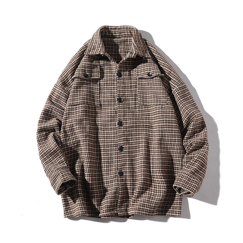 2019 Men Long Sleeve Shirt Hip-Hop Retro Plaid Shirt Men  Streetwear Lattice Single Breasted Dress Shirts LBZ158