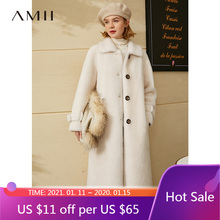 Amii Minimalism Winter Coat Women Fashion Pure Wool Fur Coat Solid Lapel Single-breasted Suede coat Female Jacket 12070553