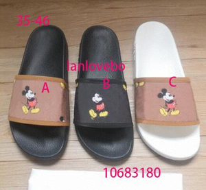 Luxury brand new Mickey doodle couple flip flops for men and women, fashionable ladies slippers