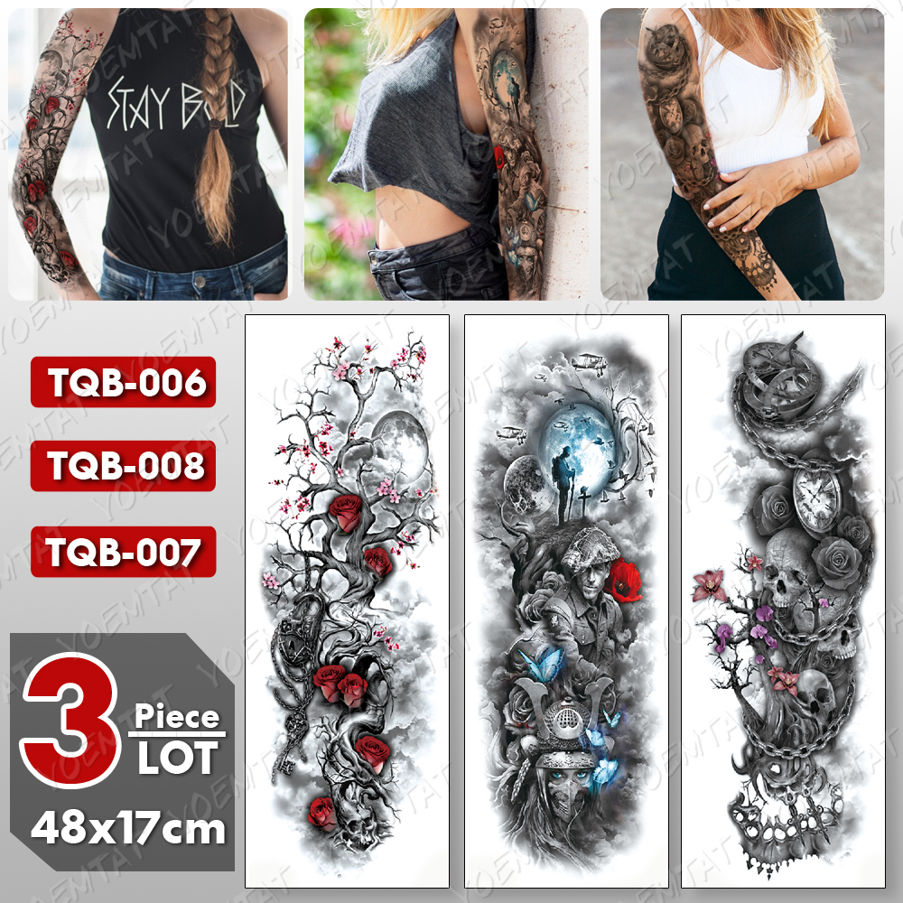 3 Pcs/lot Large Arm Sleeve Tattoo Skull Rose Waterproof Temporary Tatto Sticker Warrior Body Art Full Fake Tatoo Women Men
