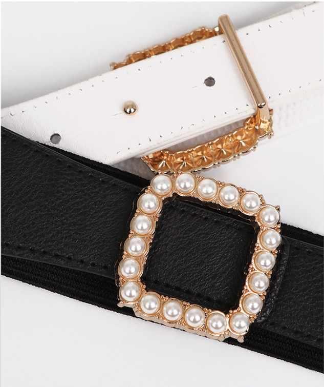 Nieuwste Riemen Voor Vrouwen Parel Decoratie Gouden Vierkante Gesp Broeksbanden Vrouwelijke Pu Lederen Riem Witte Tailleband Voor Broek Jurken