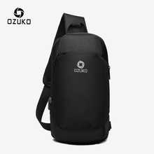 OZUKO USB Charging Chest Bags for Men Multifunction Waterproof Crossbody