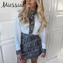 Miessial Tweed patchwork sexy bodycon dress Women winter long sleeve elegant min