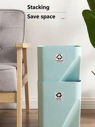 Gorący kuchenny kubeł na śmieci ułożone sortowanie śmieci pojemnik na surowce wtórne gospodarstwa domowego oddzielne kieszenie na suche i mokre rzeczy odpady kosz na śmieci do łazienki|Kosze na śmieci|   -