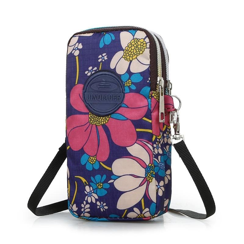 Cartoon Flower Bolso Kiple SPORTS Universal Wallet Bag Iphone7 PlusPortable Case For IPhone 6s Mobile Phone Shoulder Bag Holster
