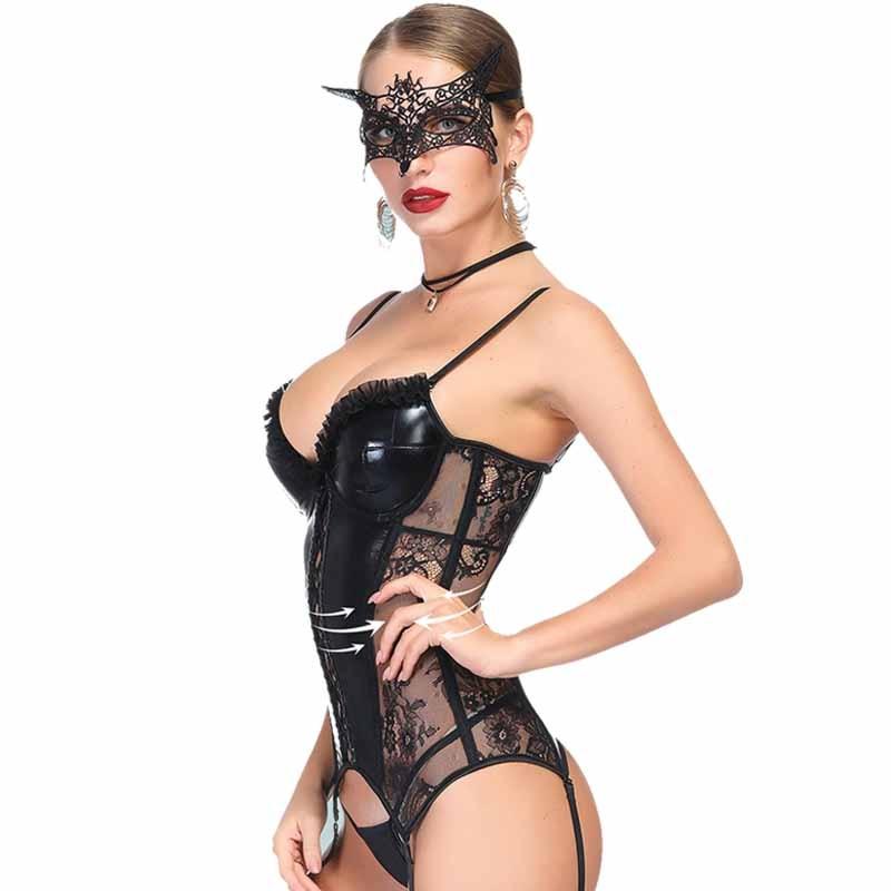 Sexy Gothic Women Steampunk Corselet Black Wetlook Pvc Leather Push Up Lingerie Bustiers Femme Underbust Corset Tops Underwear