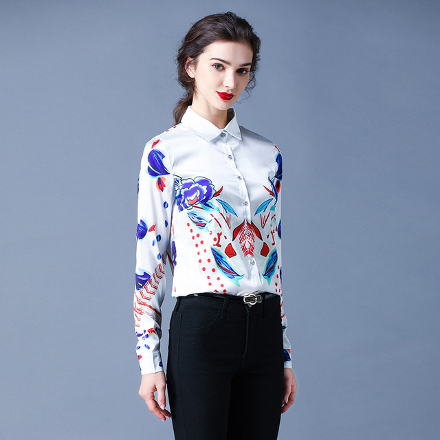Simgent Floral Blouses Womens Long Sleeve Stripe Flower Printing Turn Down Collar Work Office Tops Woman Shirts Blusas SG911088 4