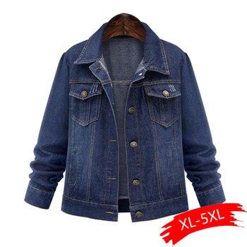Spring And Autumn Large Size XL-5XL Women's Denim Jacket Classic Casual Long Sleeve Pocket Plus Size Female Coats Jackets