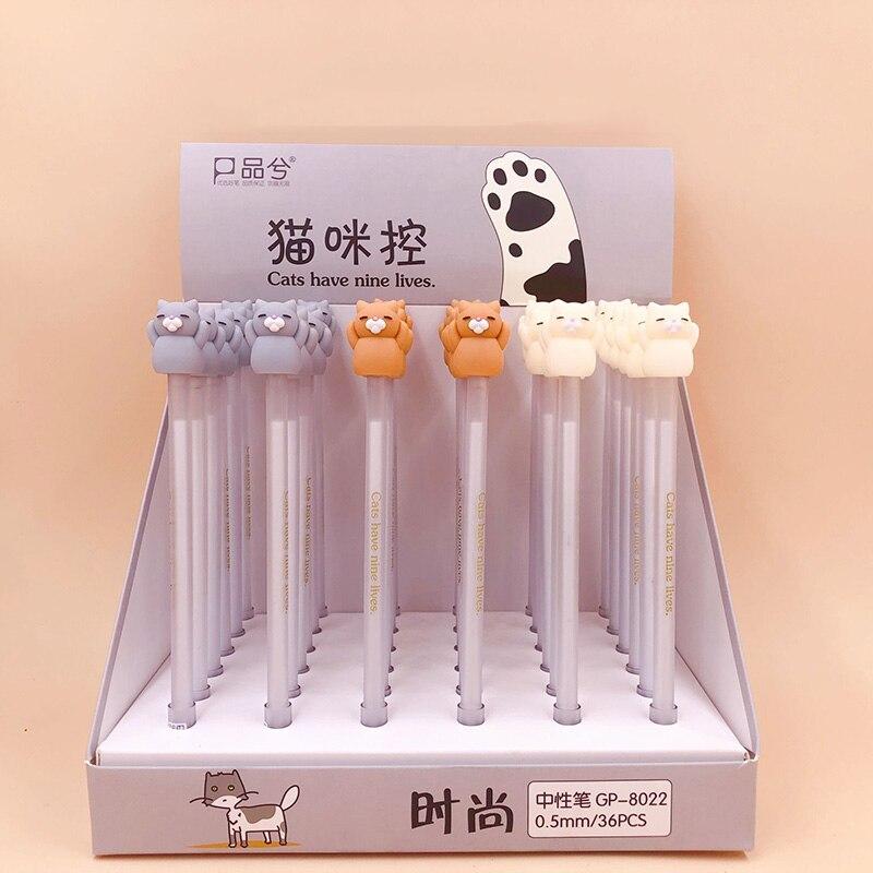 Cute Cat Pens 0.5mm Novelty Gel Pens Kawaii Neutral Pens For Kids Girls Gift School Office Supplies Korean Stationery