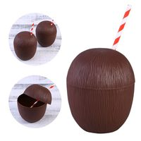 12 Pack Coconut Cups for Hawaiian Luau Kids Party with Hibiscus Straws D08D