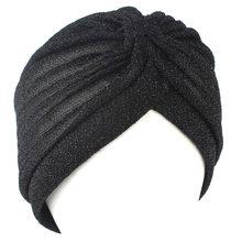 Casquette turban de couleur argent or pour femme, noeud torsadé, bandeau, couvre-chef chaud, décontracté, streetwear musulmane indienne, chapeaux automne hiver