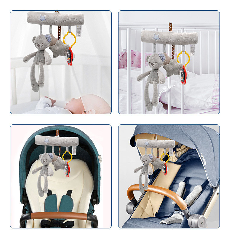 Infant Baby Toys Crib Mobiles Music Plush Rattles Bed Stroller Toy Spiral For Newborns Car Seat Hanging Bell Educational Toy