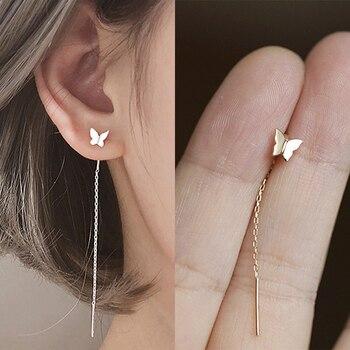 Long Tassel Butterfly Drop Earrings Silver Color 2020 Fashion Hanging Women Earrings Summer Jewelry Girls Party Gift 1