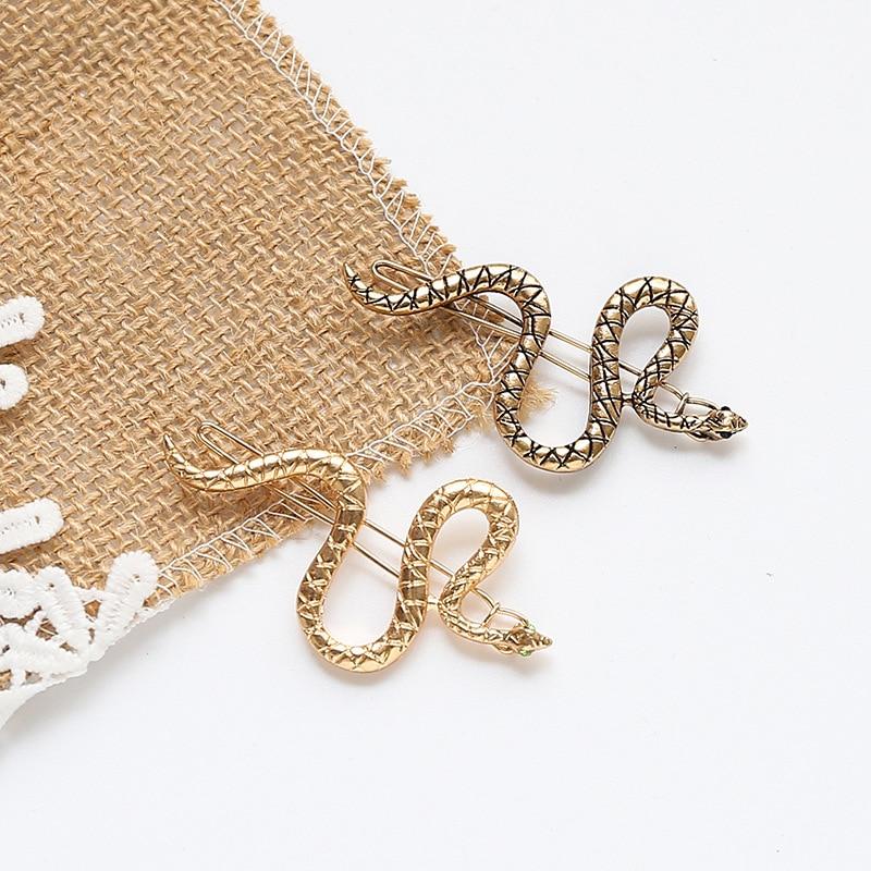 Punk Simple Hairpins Snake Animals Gold Metal Hairpins Hair Clips For Women Wedding Headpiece Hairgrips Hair Accessories