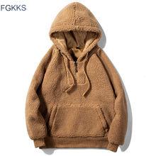 FGKKS Homens Hoodies Moletons Outono Inverno New Lã Moda Hoodies Masculinos Casuais dos homens de Cor Sólida Grande Bolso Camisolas