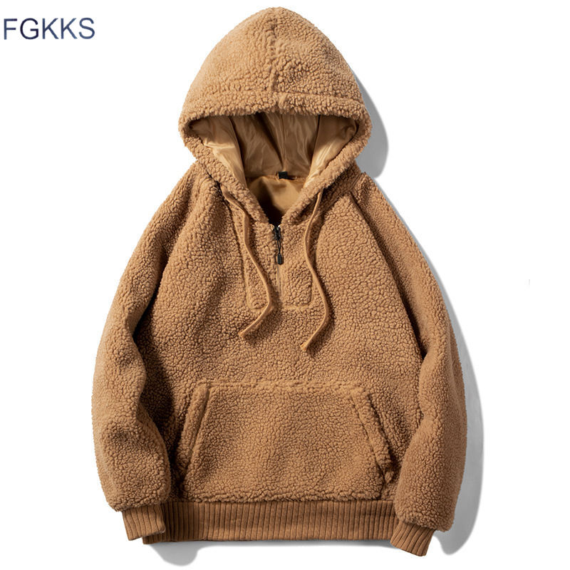 FGKKS Men Hoodies Sweatshirts Autumn Winter New  Woollen Fashion Solid Color Men's Hoodies Male Casual Big Pocket Sweatshirts