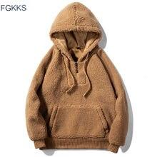 FGKKS hommes Hoodies Sweatshirts automne hiver nouveau laine mode solide couleur hommes Hoodies décontracté grand poche Sweatshirts