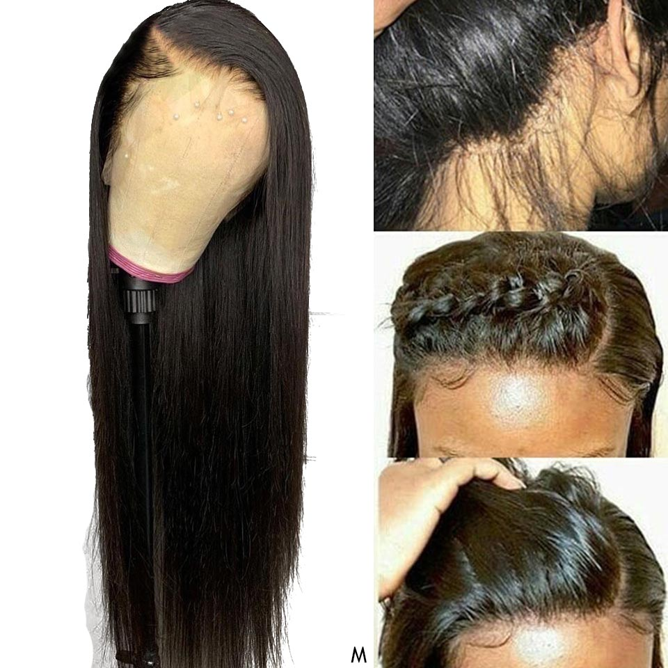 Brazilian 100% Real Human Hair Wigs 13x4 Remy Straight Lace Front Human Hair Wigs For Black Women 28 Inch Lace Front Wig 150%